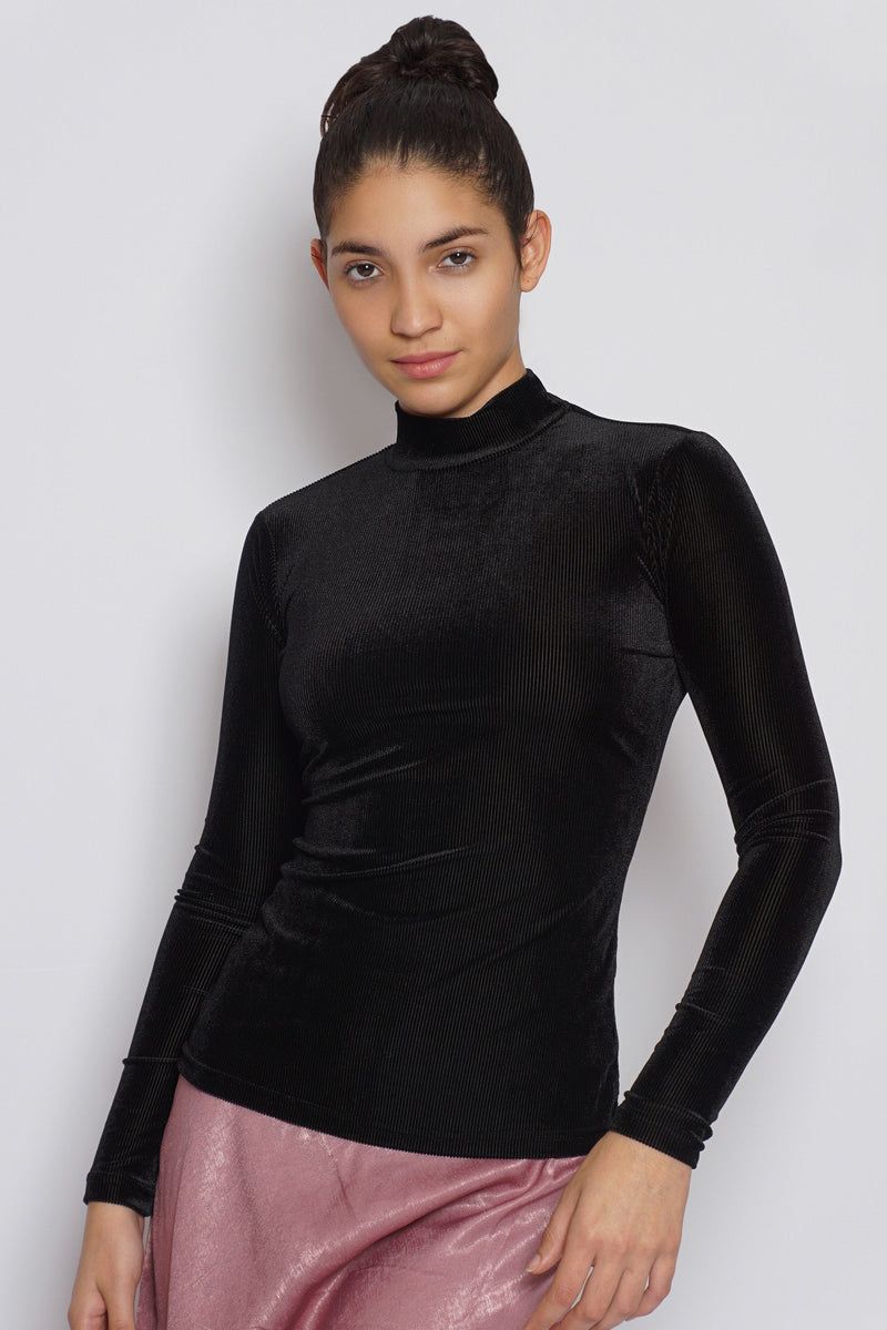 Velour Ribbed Mock Neck