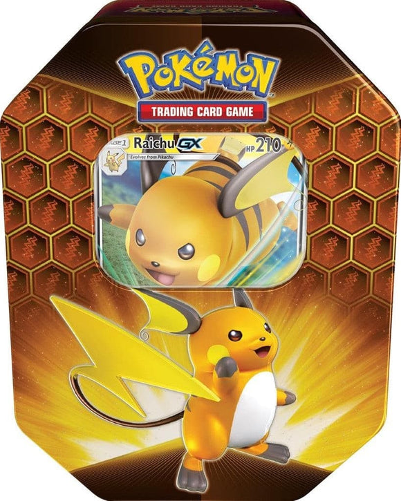 Pokemon Hidden Fates Raichu GX Tin Box