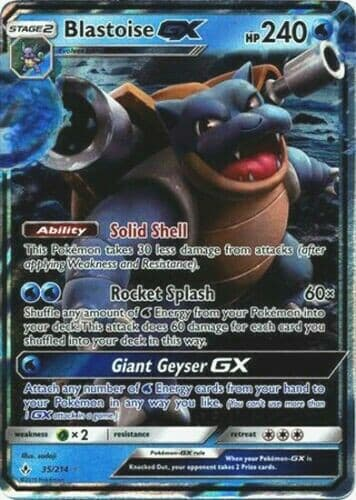 Blastoise GX UNBROKEN BONDS -ULTRA RARE 35/214 S & M Pokemon Card NM/MT