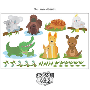 Australian animal removable wall decal sheet