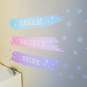 Dream, Believe, Shine Wall Decal