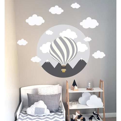 Hot Air Balloon Wall Decal Grey - Large