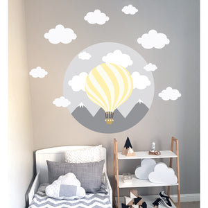 Hot Air Balloon Wall Decal Yellow - Large
