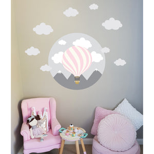 Hot Air Balloon Wall Decal Grey - Small