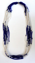 Load image into Gallery viewer, 15 Strand Necklace - White & Cobalt Blue