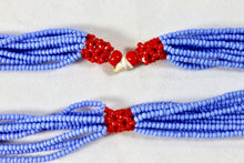 Load image into Gallery viewer, Shilluk Necklace - Light Blue & Red