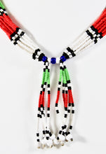 Load image into Gallery viewer, Mundari Front Tassel Necklace - Green, White & Red