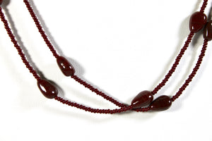 Single Strand Long Stone Necklace - Chocolate Brown