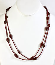 Load image into Gallery viewer, Single Strand Long Stone Necklace - Chocolate Brown