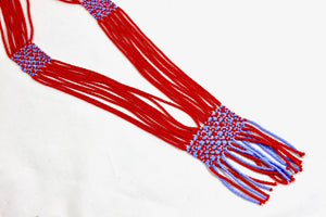 Geometric Necklace - Bright Red & Light Blue
