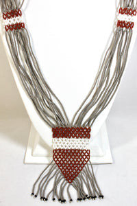 Geometric Necklace - Gray, White & Brown II