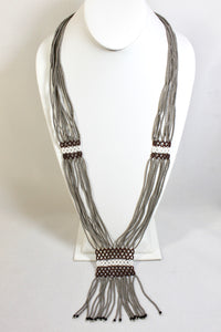 Geometric Necklace - Gray, White & Brown