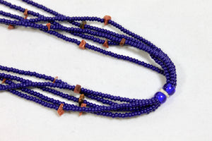5 Strand Long Stone Necklace - Dark Blue & Brown Stones