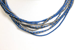 5 Strand Long Necklace - Gray & Steel Blue II