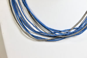 5 Strand Long Necklace - Steel Blue & Gray IV