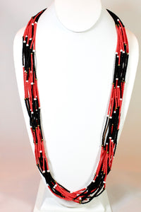 15 Strand Necklace Long - Red, Black, White & Gold