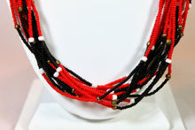 Load image into Gallery viewer, 15 Strand Necklace Long - Red, Black, White & Gold
