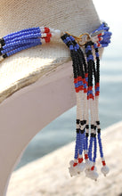 Load image into Gallery viewer, Mundari Tassel Necklace - Black, White & Blue II