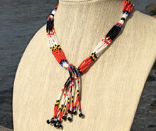 Load image into Gallery viewer, Mundari Tassel Necklace - Black, Red & White