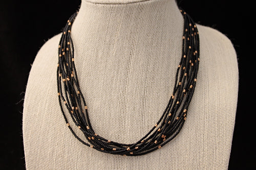 10 Strand Necklace - Black & Gold