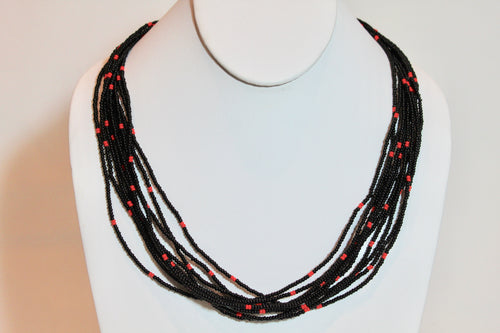 10 Strand Necklace - Black & Bright Red