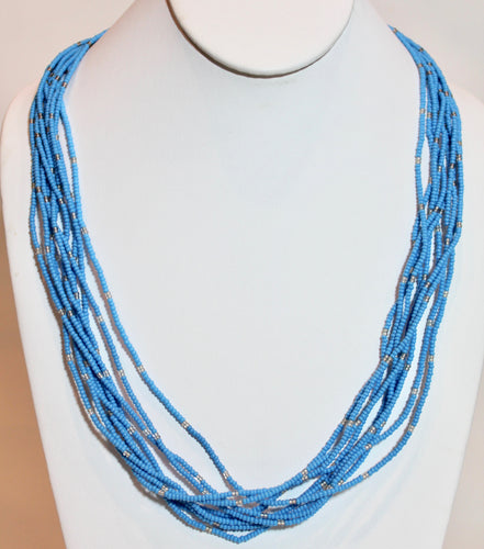 10 Strand Necklace - Aqua & Clear Tied