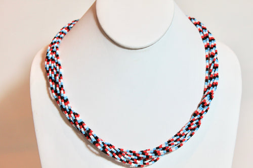 10 Strand Necklace - Aqua, Red, White & Black