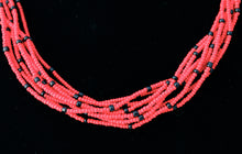 Load image into Gallery viewer, 10 Strand Necklace - Red & Black Tied