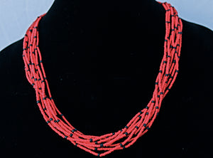 10 Strand Necklace - Red & Black Tied