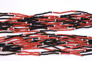 14 Strand Necklace - Red, Black & Pearl