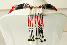Load image into Gallery viewer, Mundari Tassel Necklace - Red, Black & White