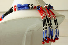 Load image into Gallery viewer, Mundari Tassel Necklace - Black, Blue & Red III