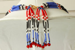 Mundari Tassel Necklace - Black, Blue & Red III