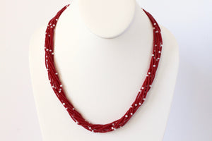 10 Strand Necklace - Red & Pearl