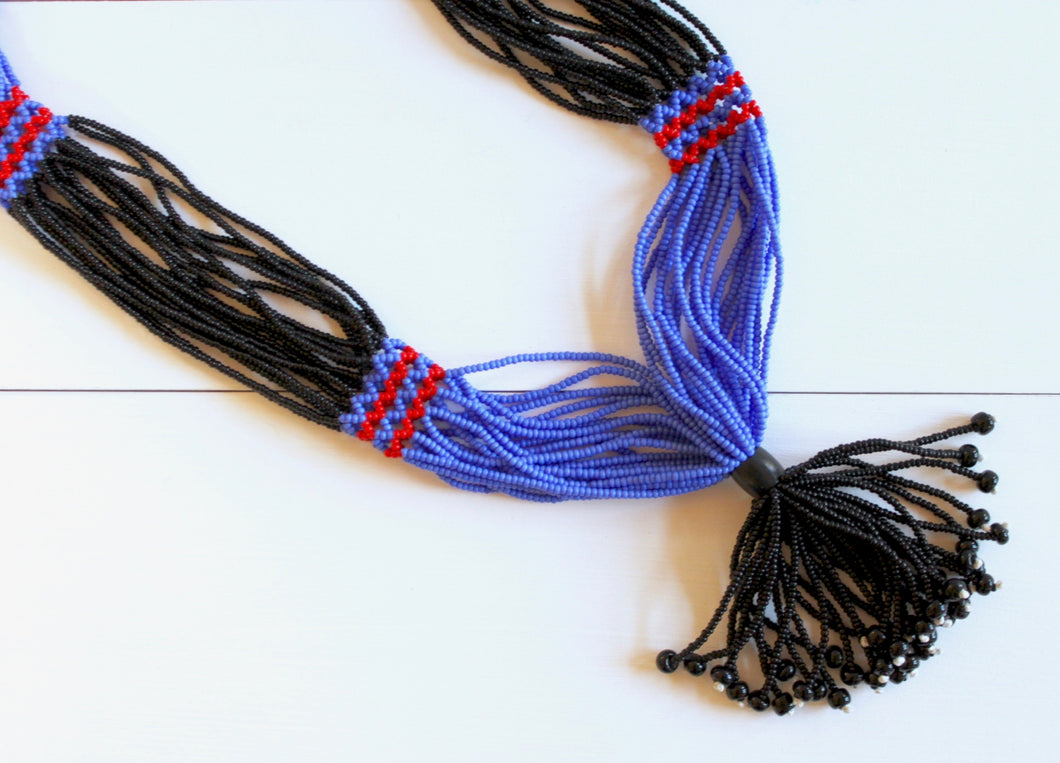 Nuer Tassel Necklace - Black & Medium Blue