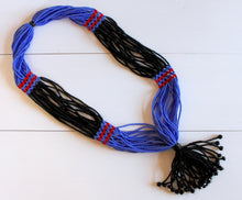 Load image into Gallery viewer, Nuer Tassel Necklace - Black & Medium Blue