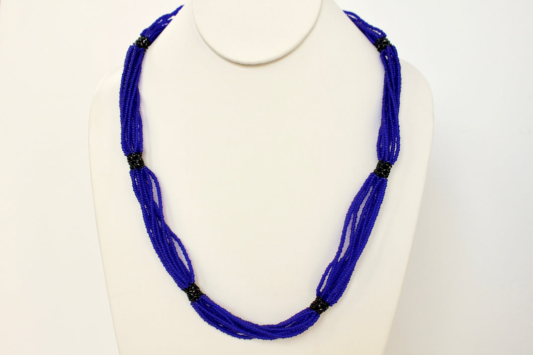 Shilluk Necklace - Royal Blue & Black