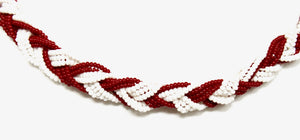 Braided Necklace - Red & White