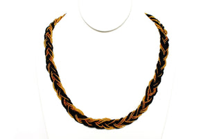 Braided Necklace - Black & Gold