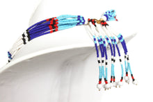 Load image into Gallery viewer, Mundari Tassel Necklace - Blue & White III