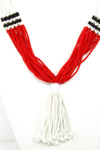 Nuer Tassel Necklace - Red & White