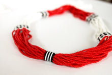 Load image into Gallery viewer, Nuer Tassel Necklace - Red & White