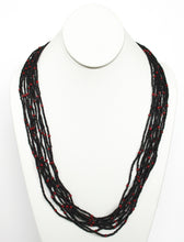 Load image into Gallery viewer, 10 Strand Necklace - Black & Red Tied