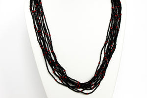 10 Strand Necklace - Black & Red