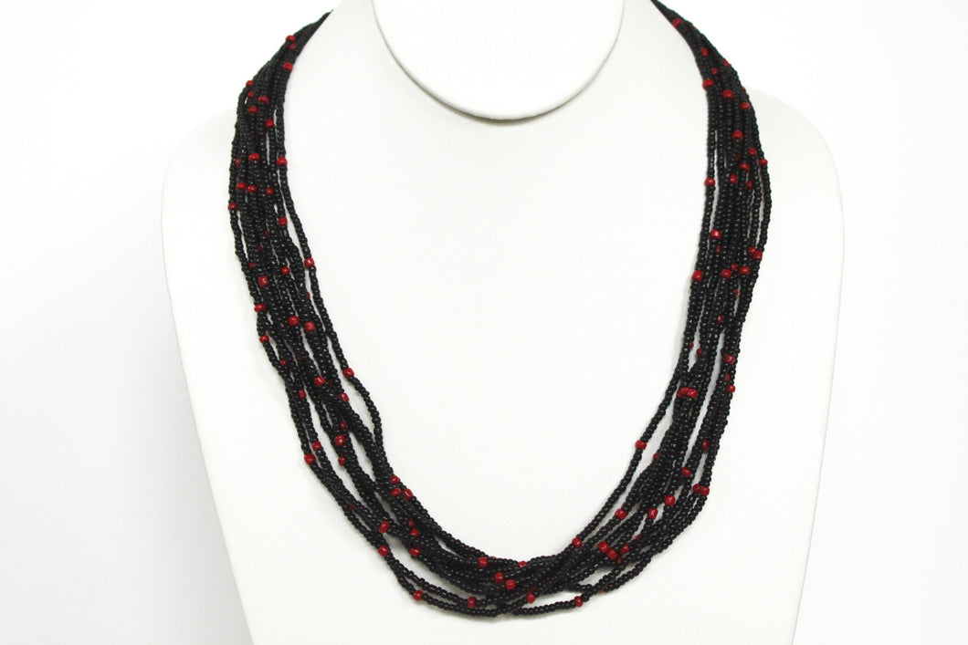 10 Strand Necklace - Black & Red Tied