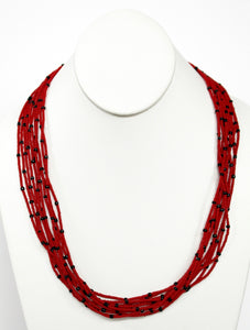 10 Strand Necklace - Red & Black