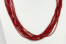 Load image into Gallery viewer, 10 Strand Necklace - Red & Black