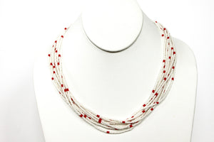 10 Strand Necklace - White & Red