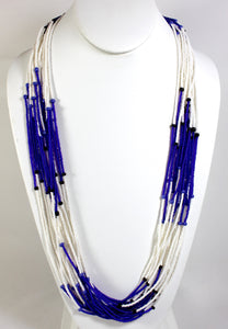 15 Strand Necklace - White & Cobalt Blue