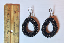 Load image into Gallery viewer, Knitted Hoop Earrings - Black & Clear